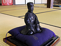 Wooden statue of Basho