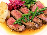 国産牛ランプ肉のステーキ